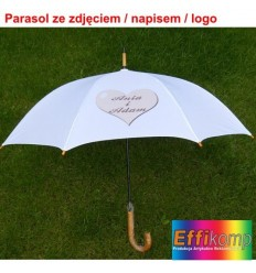 Biały parasol z Twoim zdjęciem / tekstem / dedykacją