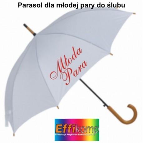 Biały parasol dla Państwa Młodych ze zdjęciem lub napisem