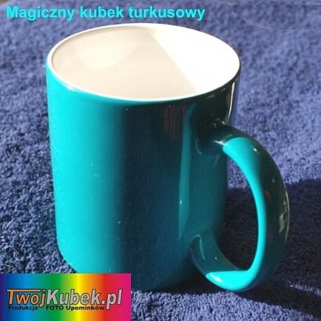 Magiczny FOTO kubek turkusowy ze zdjęciem zmieniający kolor