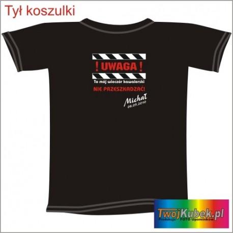 Śmieszna koszulka UWAGA WIECZÓR KAWALERSKI