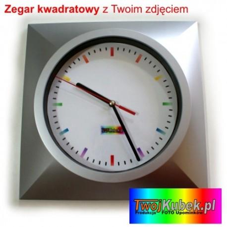 Zegar ścienny z dowolnym zdjęciem na prezent - kwadratowy