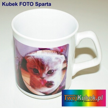 Kubek FOTO Sparta biały z Twoim zdjęciem i dedykacją