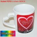 Kubek FOTO ucho serce z Twoim zdjęciami