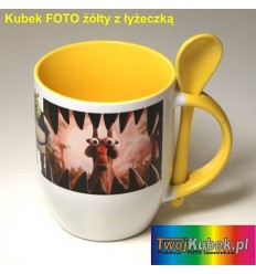 Kubek FOTO żółty z łyżeczką, Twoim zdjęciem i dedykacją