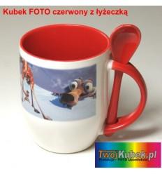 Kubek FOTO czerwony z łyżeczką, Twoim zdjęciem i dedykacją
