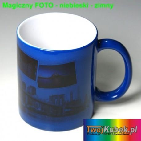 Magiczny FOTO kubek niebieski zmieniający kolory