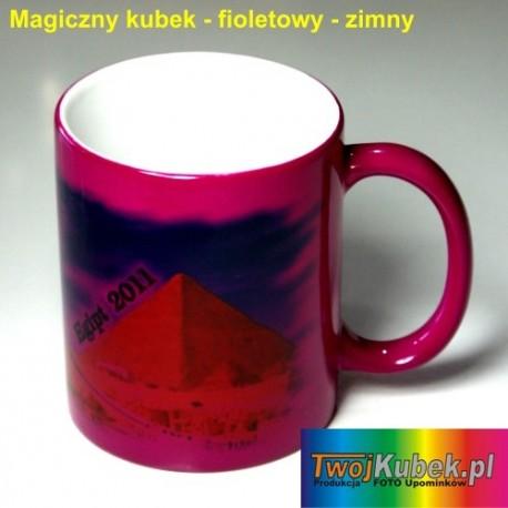 Magiczny FOTO kubek fioletowy zmieniający kolory